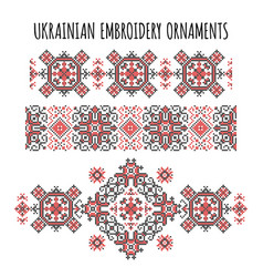 ukrainian embroidery ornaments set vector image