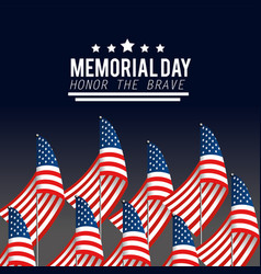Usa flags with stars to memorial day vector