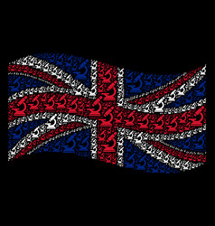 waving british flag collage of microscope items vector image