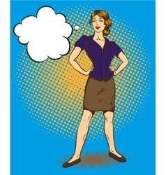 Woman standing in confident position retro comic vector