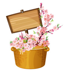 wooden sign with cherry blossoms vector image