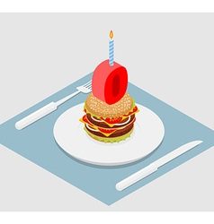 zero holiday burger Zero with andle Burger vector image