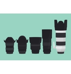 camera lens slr collection with flat style vector image