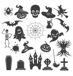 Halloween black icons vector image