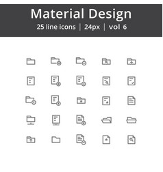 material design folder line icons vector image