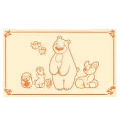 woodland animals set characters bear fox vector image