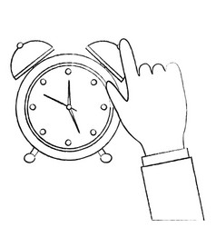 business hand with alarm clock icon vector image