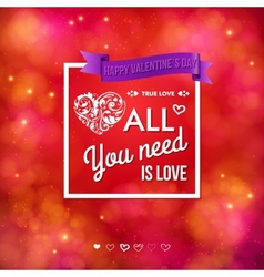 Colorful Valentines Day card design vector image vector image