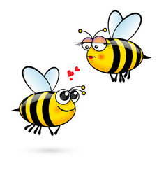 cute cartoon bees in love on white vector image vector image
