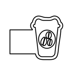 monochrome contour with disposable coffee cup and vector image