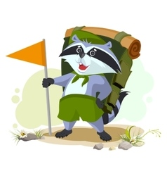 Scout raccoon with backpack goes camping Summer vector image vector image