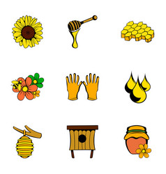 beekeeper icons set cartoon style vector image