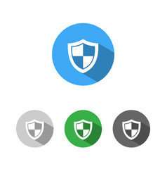 High security shield icon with shade on colored vector