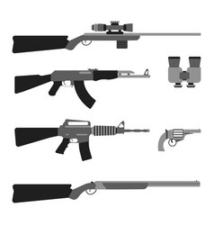 modern weapons set flat style equipment vector image