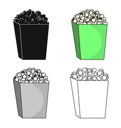 popcorn in a blue box food for an amusement park vector image vector image
