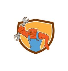 Bulldog Mechanic Holding Spanner Shield Cartoon vector image