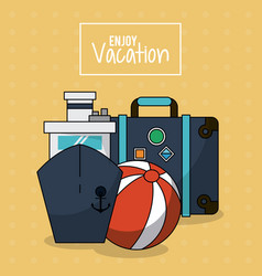 colorful poster of enjoy vacation with cruise ship vector image vector image