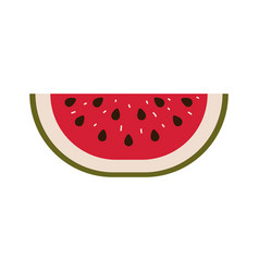 colorful silhouette with watermelon fruit slice vector image