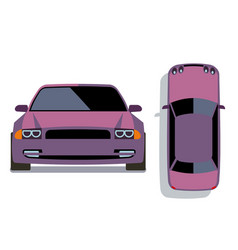 flat-style cars in different views lilac vector image vector image