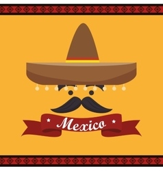 icon hat mustache mexican culture design vector image vector image