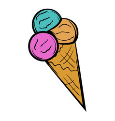 mixed ice cream scoops in cone icon cartoon vector image