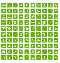 100 church icons set grunge green vector