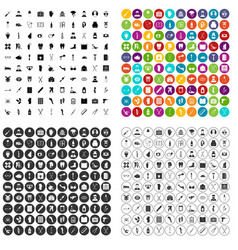 100 medical care icons set variant vector