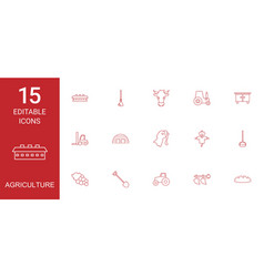 15 agriculture icons vector image