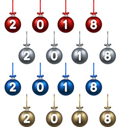 2018 new year christmas balls vector image