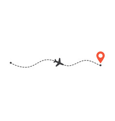 airplane flight path to location mark plane route vector image
