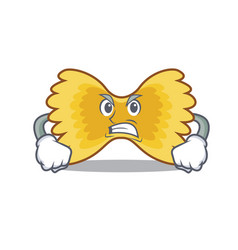 Angry farfalle pasta mascot cartoon vector
