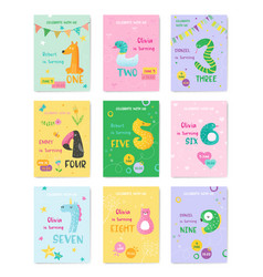 birthday baby cute cards with animal numbers vector image