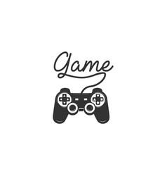 black joystick stick game controller pad logo vector image