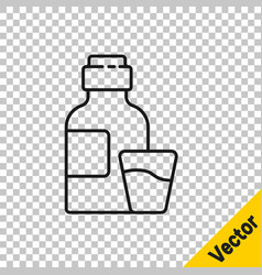 Black line bottle medicine syrup and dose vector
