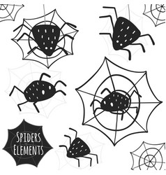 black spiders collection isolated elements vector image