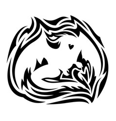 black tribal tattoo with white dragon silhouette vector image