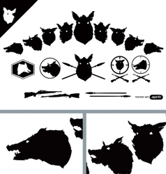 Boar Hunter Heads set vector image vector image