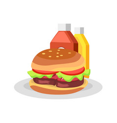 burger on plate and sauces vector image