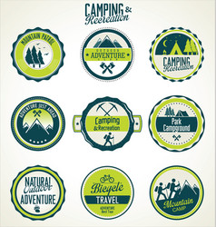 camping and recreation retro vintage badge vector image
