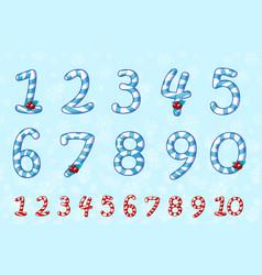 candy numbers set in blue sweet lollipop figure vector image