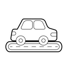 car sedan on street vehicle urban side view vector image