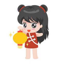 Cartoon chinese girl with lantern vector