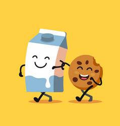 Cartoons of fun characters milk and cookies vector