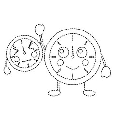 clock kawaii icon image vector image