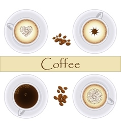 Collection of coffee cups Top view vector