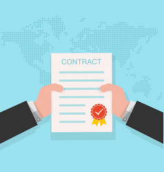 Contract in the hand vector