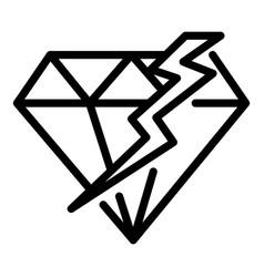Cracked diamond icon outline style vector