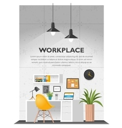 Creative office interior in loft space vector image