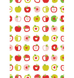 cute abstract apples pattern vector image