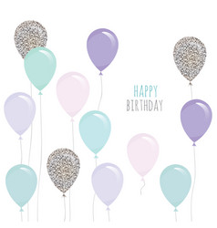 cute birthday card with balloons for holidays vector image